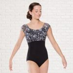 Plume Printed Lace Cap Sleeved Leotard